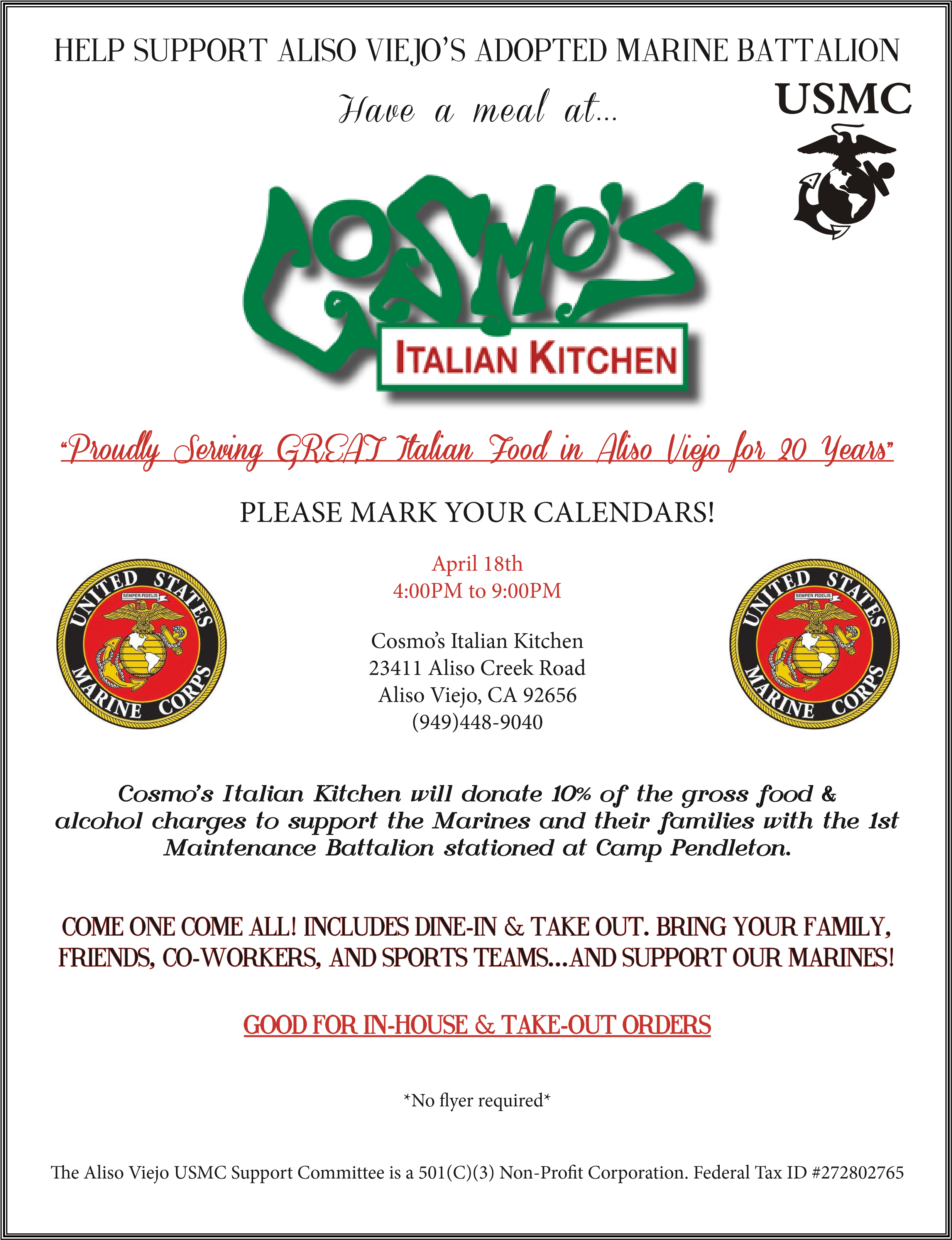 Have A Meal At Cosmo S Italian Kitchen Help Support Aliso Viejo S Adopted Marine Battalion